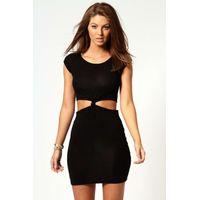 Cutout Side Cap Sleeve Knot Dress - black