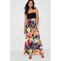 Floral Bandeau Maxi Dress - multi