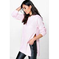 Side Split Moss Stitch Tunic Jumper - pink