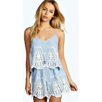 Cameo Lace Chambray Playsuit - blue