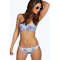 Tile Moulded Bandeau Bikini Strappy Brief - white