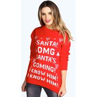 Santas Coming Christmas Jumper - red