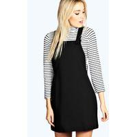 Woven Pinafore Dress - black