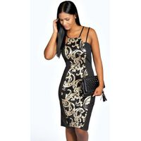 Sequin Panel Midi Dress - black