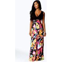 Kiera Rose Print Maxi Dress - black