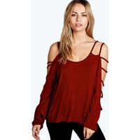 Strappy Sleeve Loose Fit Top - berry