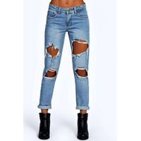 Cloudy Wash Ripped Boyfriend Jeans - blue