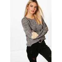 Heart Elbow Patch Jumper - charcoal