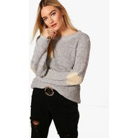 Heart Elbow Patch Jumper - grey