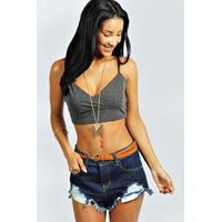 Cross Front Bralet - charcoal