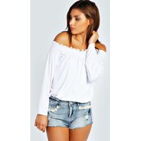Shirred Off The Shoulder Top - white