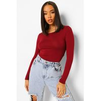 Round Neck Long Sleeve Top - berry