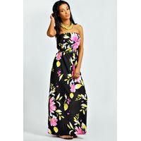Large Fluro Flower Maxi Dress - black
