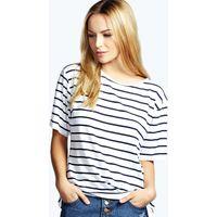 Basic Stripe Oversized Tee - navy