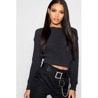 Crop Fisherman Jumper - charcoal