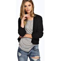 Checker Board Knit Cardigan - black