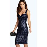 Sequin Fitted Cups Midi Dress - navy