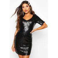 Sequin Short Sleeve Bodycon Dress - black