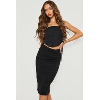 Midi Jersey Tube Skirt - black
