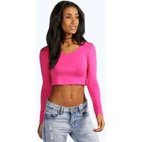 Long Sleeve Crop Top - pink