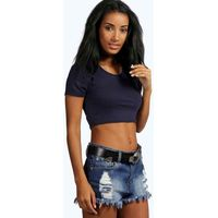 Short Sleeve Crop Top - navy