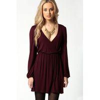 Jersey Long Sleeve Wrap Dress - berry