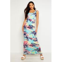 Tropical Print Scoop Neck Maxi Dress - multi