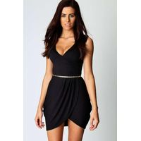 Wrap Over Detail Tulip Shape Dress - black