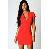 V Neck Cap Sleeve Bodycon Dress - red