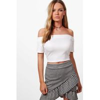 Bardot Crop Top - white