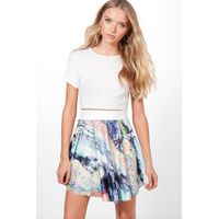 Printed Mini Skirt - blue
