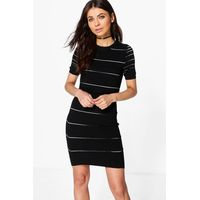 Stripe Bodycon Dress - black