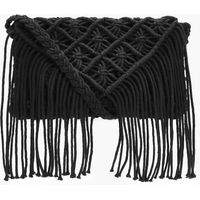 Crochet Tassel Cross Body Bag - black