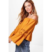 Woven Ruffle Off The Shoulder Top - mustard