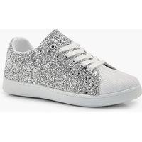 Glitter Lace Up Trainer - silver