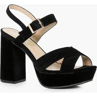 Cross Strap Platform Heels - black