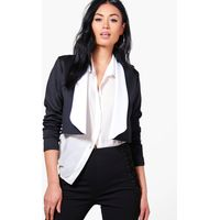 Contrast Lapel Crop Blazer - black