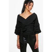 Ruffle Sleeve Woven Blouse - black