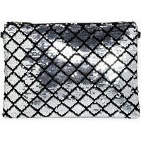 Diamond Pattern Sequin Clutch Bag - silver