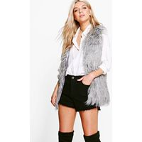 Shaggy Faux Fur Gilet - grey