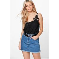 Crochet Trim Cami - black