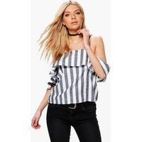 Stripe Cold Shoulder Top - black