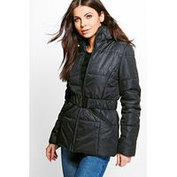 Belted Quilted Jacket - black