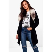 Faux Fur Collar Wool Look Coat - black