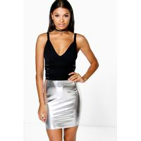 Metallic Mini Skirt - silver