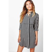 Check Shirt Dress - black