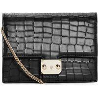 Mock Croc Box Cross Body Bag - black