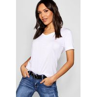 Supersoft V Neck Tee - white