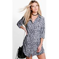 Snake Print Shirt Dress - grey