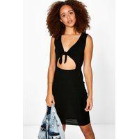 Tie Front Bodycon Dress - black